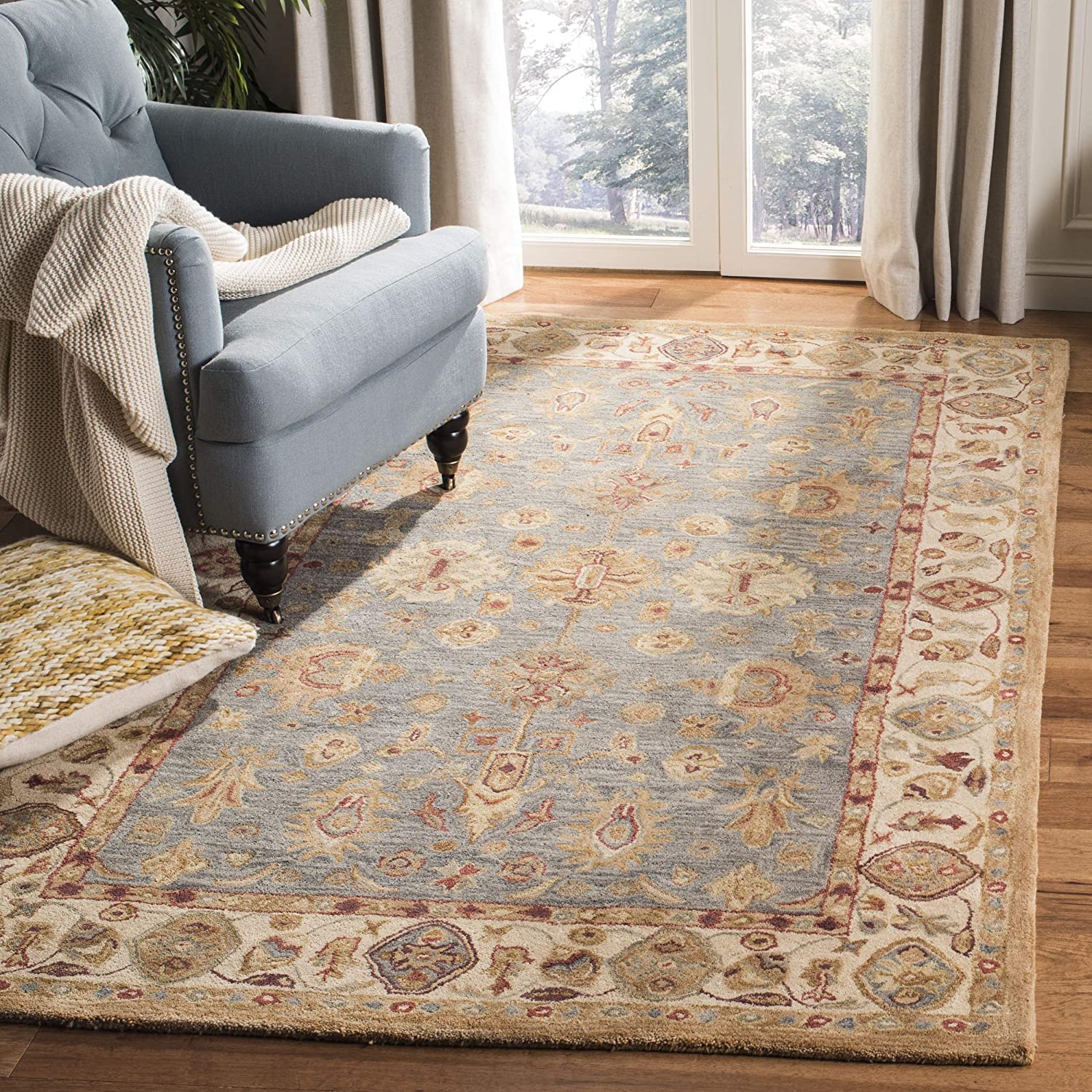 Safavieh Anatolia Collection AN547A Handmade Traditional Oriental Blue and Ivory Wool Area Rug (6' x 9')