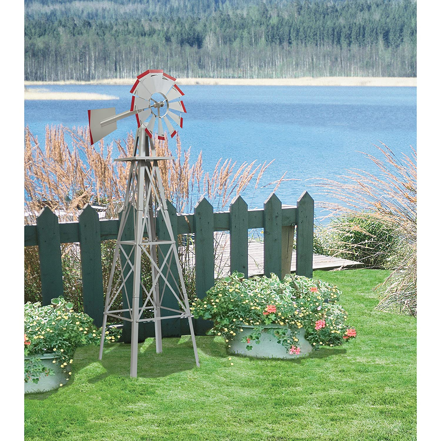 Amazon.com : 4ft. Ornamental Windmill - Galvanized with Red Tips ...