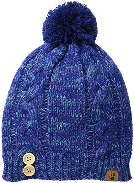 6c41af0c17bf6 BEARPAW Women s Cable Knit Hat with Buttons Pom