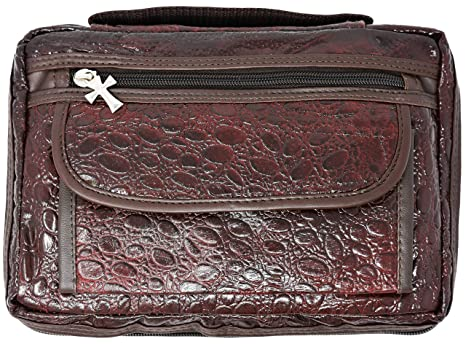 Garrison Grip Quality CCW Cowhide Leather Brown Alligator Design Bible/Day  Planner Cover