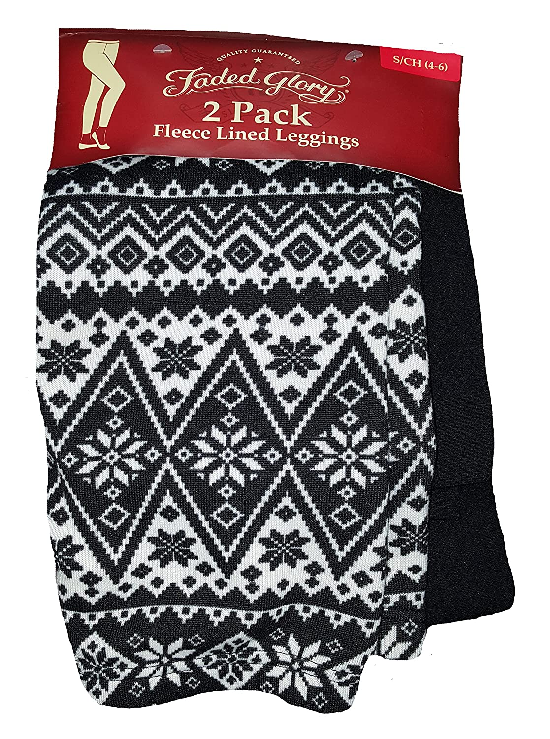 Christmas Black & White Snowflakes Fair Isle & Black 2 Pack Fleece Lined Leggings