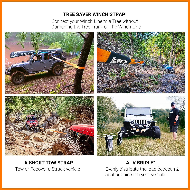 arancia 2PK 2PK GearAmerica Heavy-Duty Albero Saver Winch Strap Off-Road di traino e corda di recupero per il camion Lab testato 35.000 Lbs Storage Bag 3 x 8