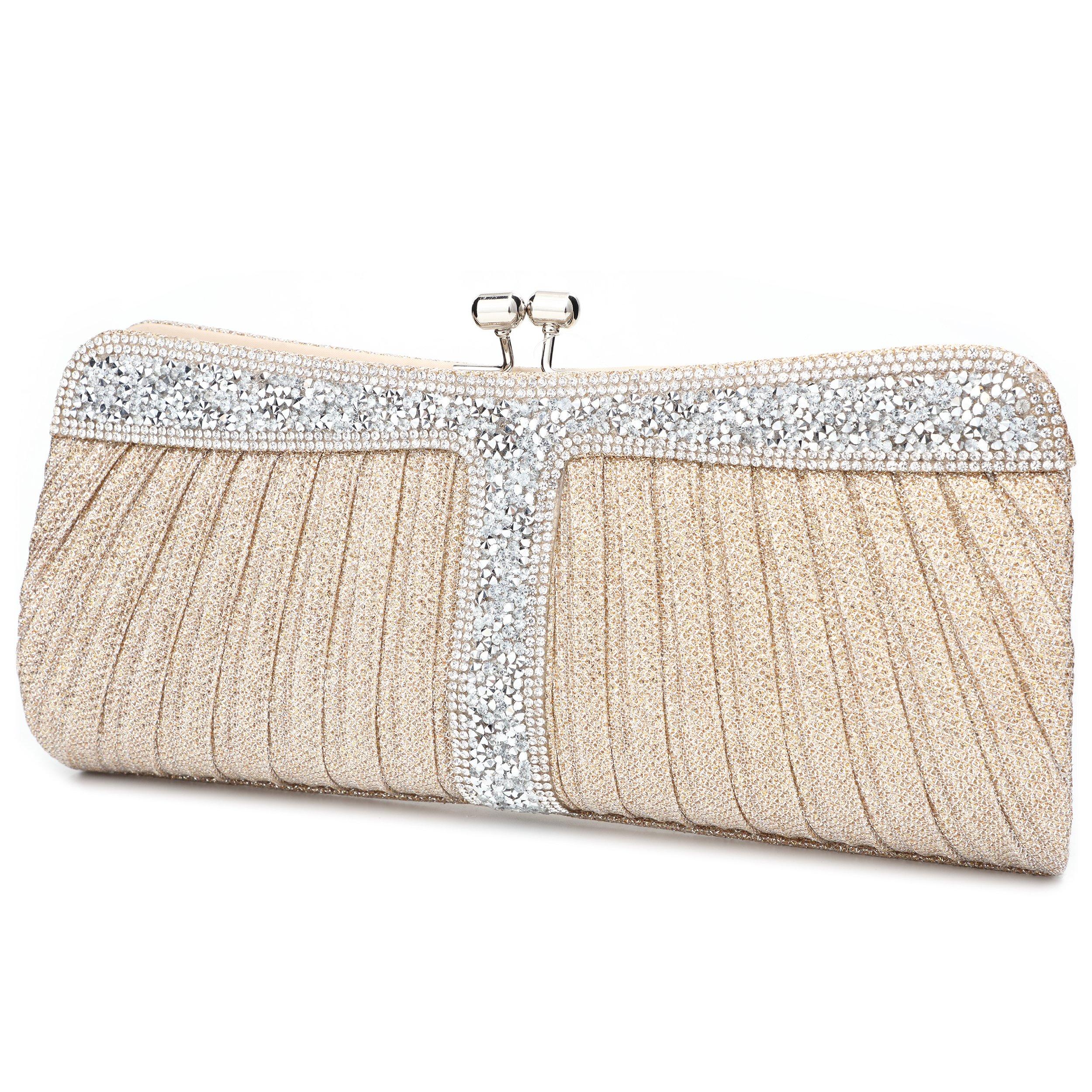 Yojoy Ladies Sparkling Rhinestone Wedding Evening Party Clutch Handbag Purse Chain Shoulder Crossbody Bag (Gold)