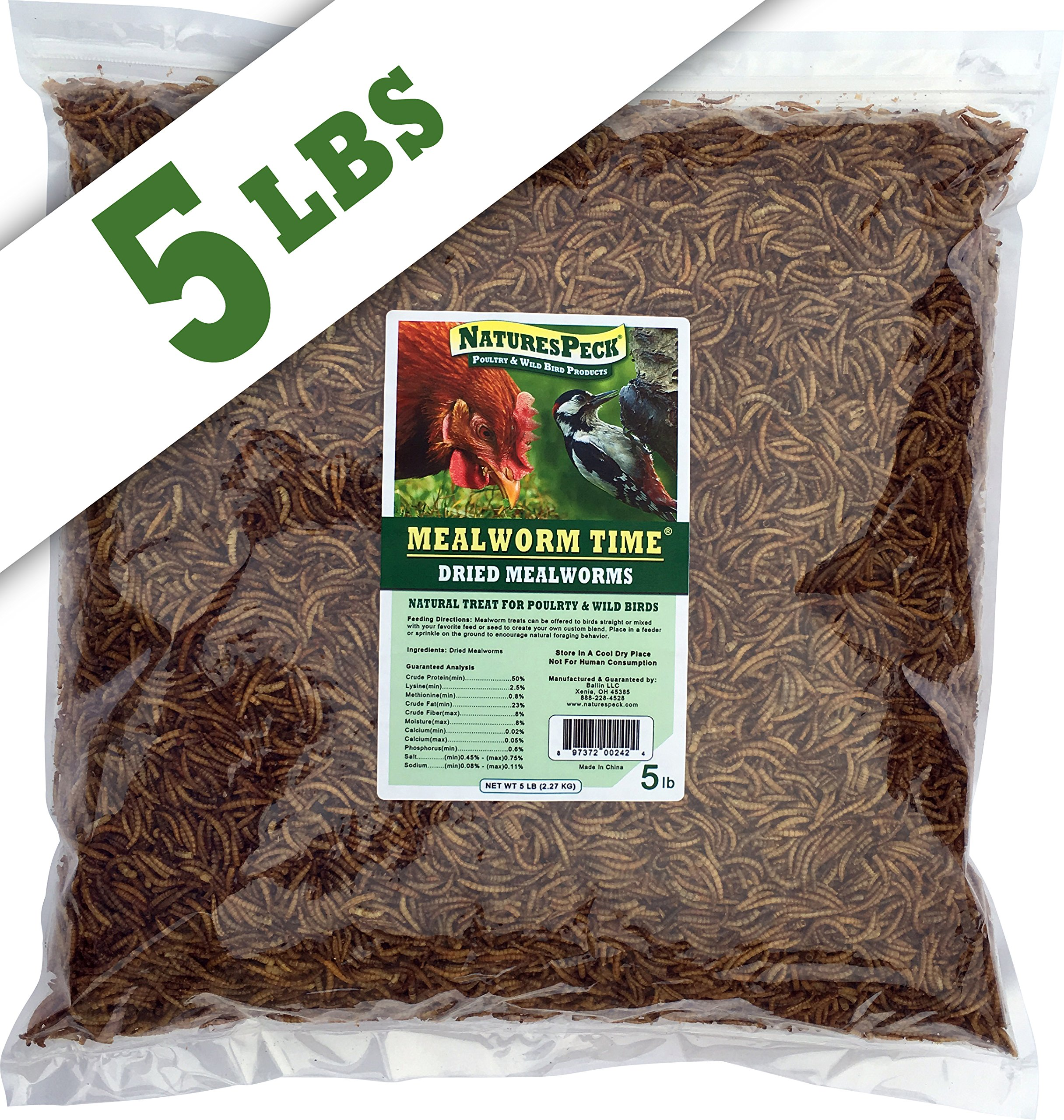 NaturesPeck Mealworm Time Dried Mealworms from (5 lbs) - For Chickens & Wild Birds by NaturesPeck