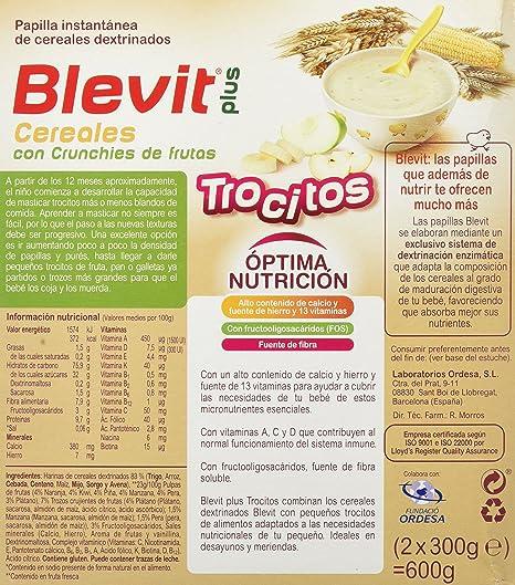 Blevit Plus Trocitos Cereales con Crunchies de Frutas - Paquete de 2 x 300 gr - Total: 600 gr: Amazon.es: Alimentación y bebidas