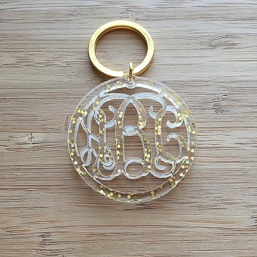 Amazon com: Transparent Gold Acrylic Keychain, Glitter Monogram