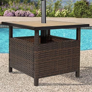 Best Choice Products Outdoor Furniture Wicker Rattan Patio Umbrella Stand Table for Garden, Pool Deck - Brown