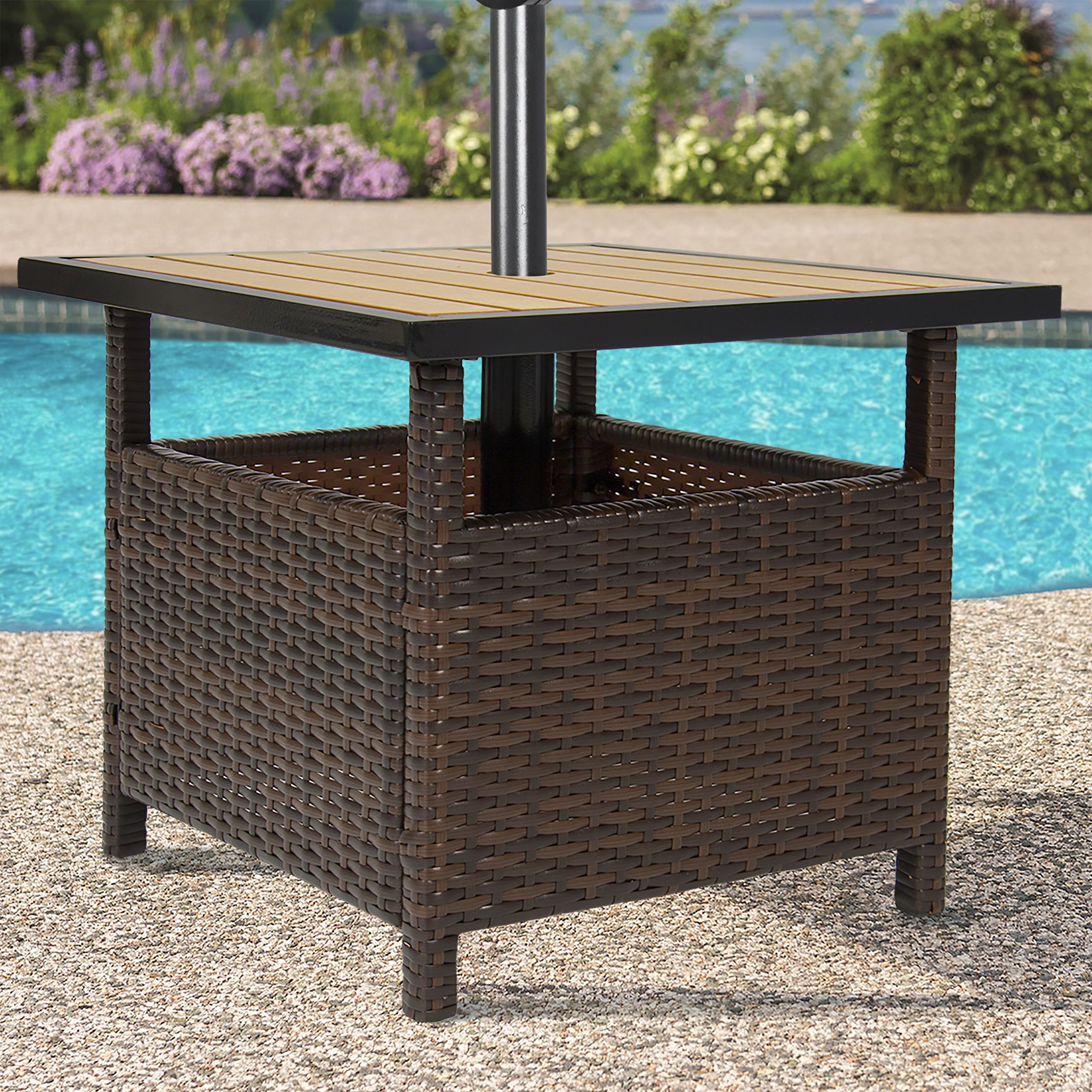 Modern Style Outdoor Rattan Patio Umbrella Stand Table for Garden or Pool Deck made of Durable Sturdy Weather Resistant Wicker and Wood Top with Rust Restistant Steel Frame Construction