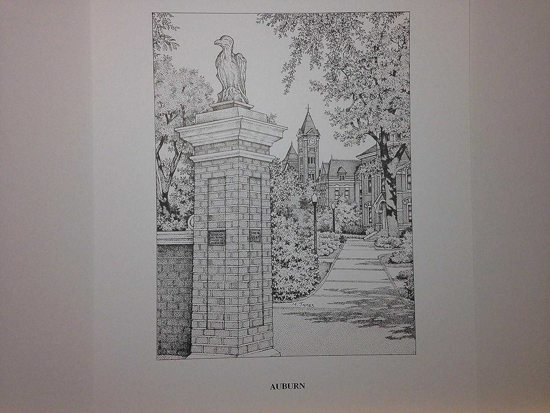 Auburn Toomer's Corner pen and ink 11x14 print