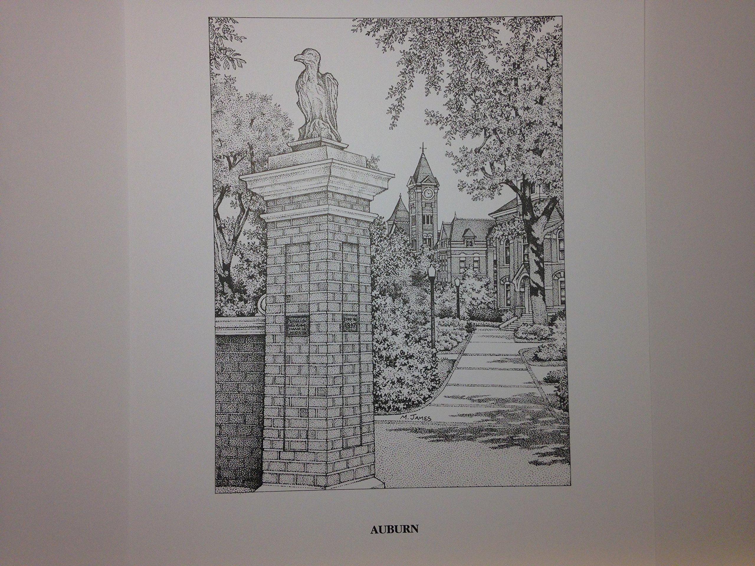 Auburn ''Toomer's Corner'' pen and ink 11''x14'' print by Campus Scenes