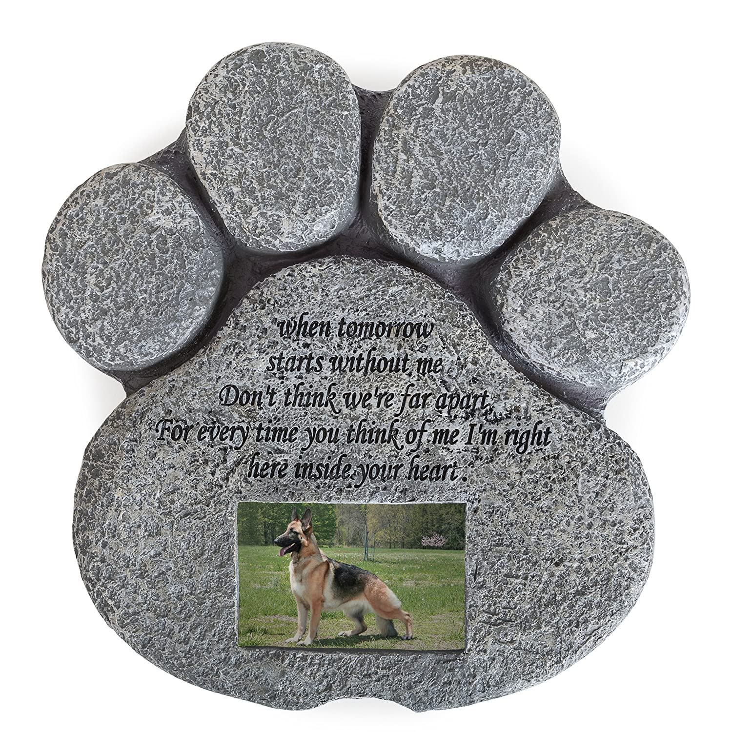Besti Pet Memorial Stone for Cats and Dogs – Paw Shaped Headstone with Loss Comforting Poem, Photo Frame Grave Marker for Outdoor Tombstone Or Indoor Display
