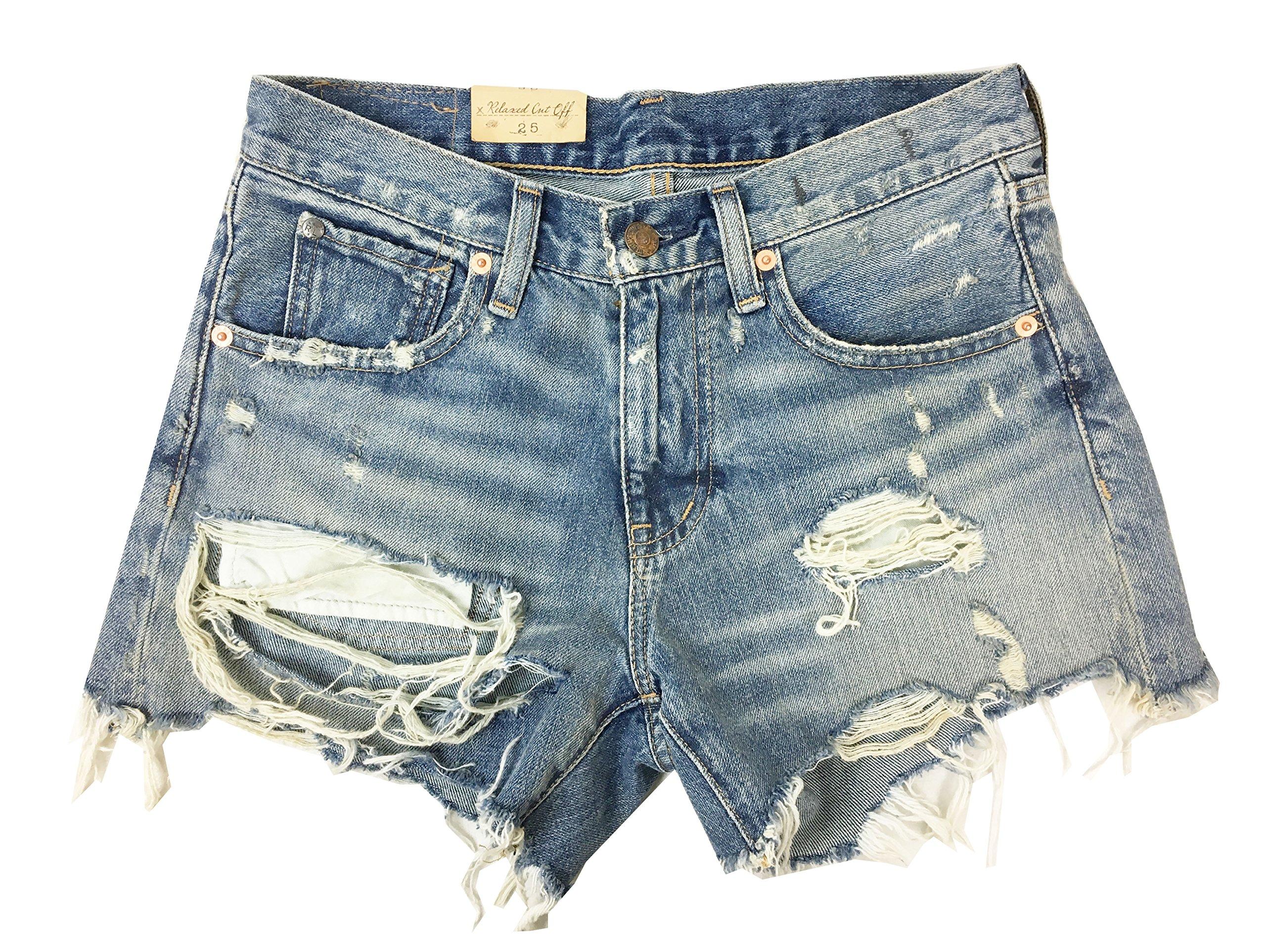 Denim & Supply Ralph Lauren Womens Denim Destroyed Cutoff Shorts Blue 25