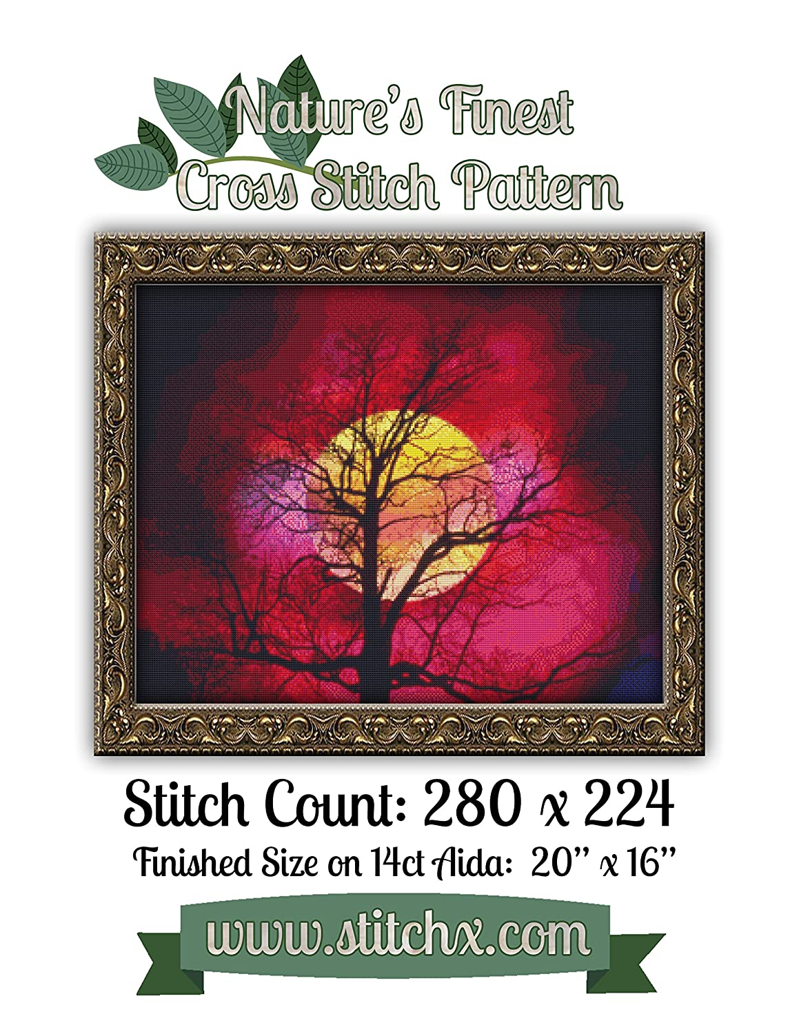 Natures Finest No Not a kit 30 Cross Stitch Pattern Beautiful Moon against Tree Silhouette Cross Stitch Pattern only