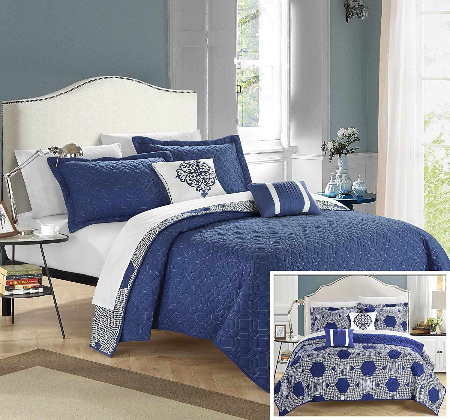Chic Home 5 Piece Zoe Hexagon Queen Quilt Set