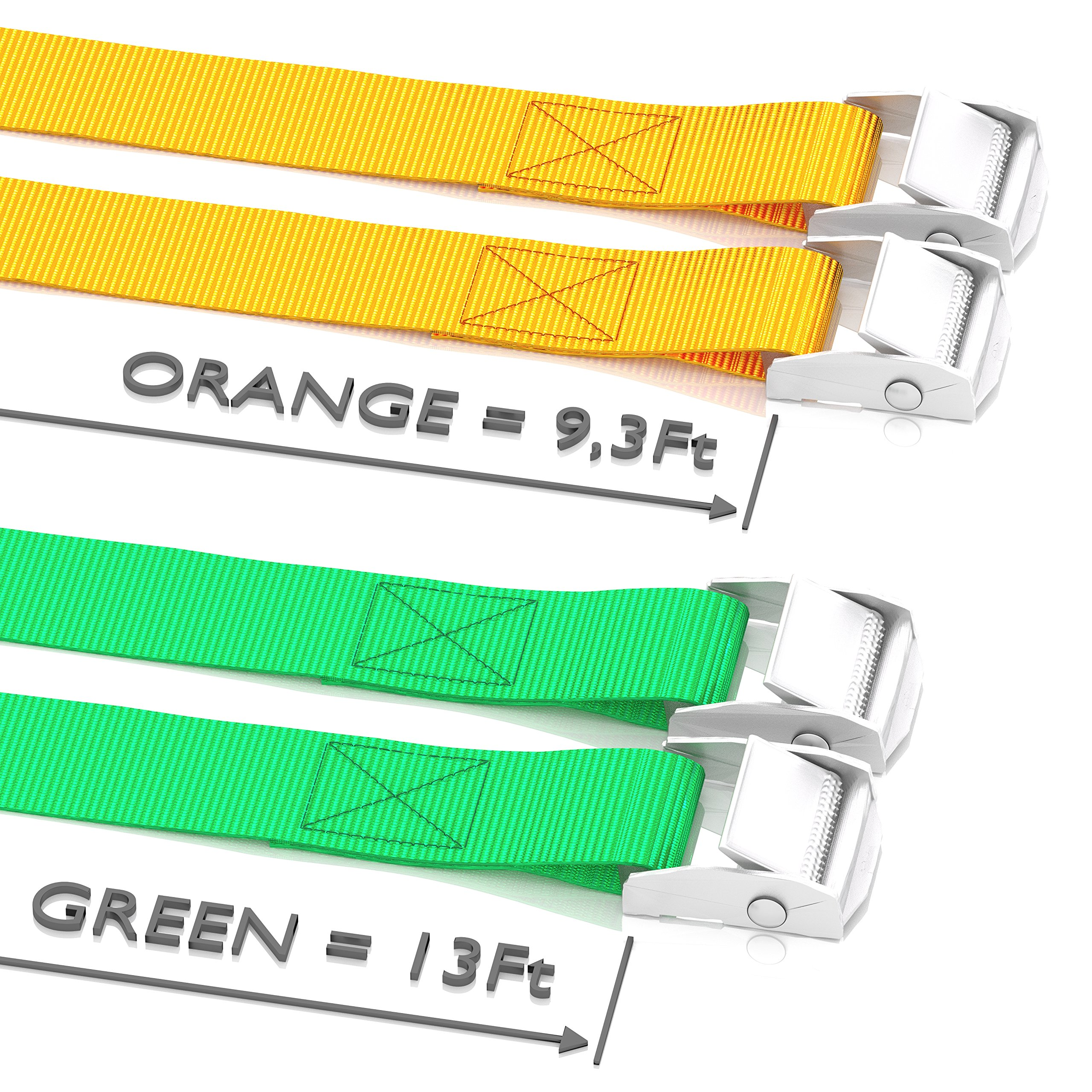 WowThings! Long Tie Down Car Straps - Lashing Cam Lock Metal Buckle Strap - Securing Adjustable Cargo Tie Downs For Roof Rack, Kayak, Canoe, Boat, Up To 600lbs, 4 Pack