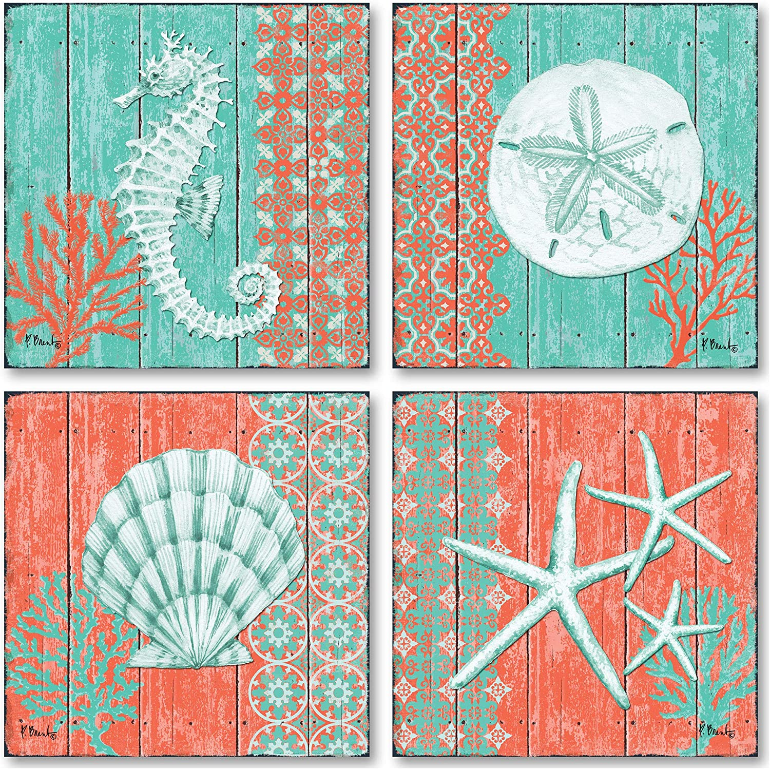 4 Lovely Teal and Coral Ocean Seashell Sand Dollar Seahorse Star Fish Collage Poster Prints; Nautical Decor; Four 12x12in Poster Prints