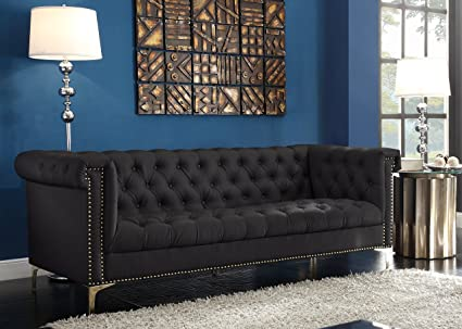 Iconic Home FSA2572-AN Winston PU Leather Modern Contemporary Button Tufted  with Gold Nailhead Trim Goldtone Metal Y-shaped Feet Sofa Black