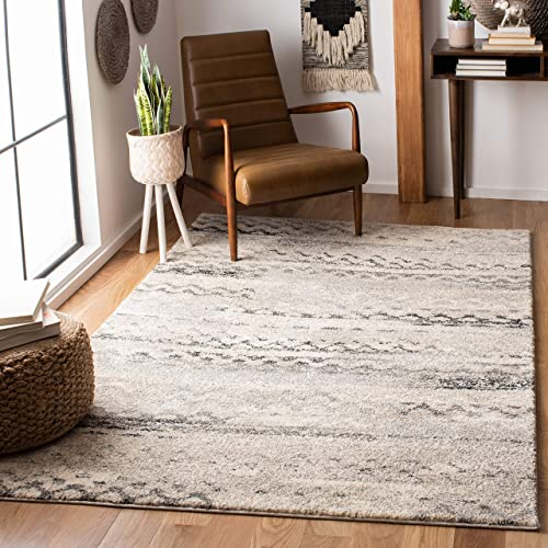 Safavieh Retro Collection RET2136-1180 Modern Abstract Cream and Grey Area Rug 8' x 10'