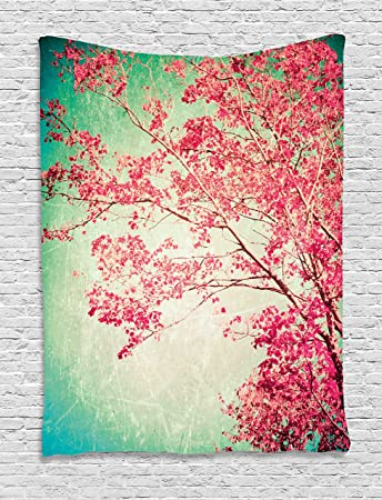 Amazon.com: Vintage Tapestry by Ambesonne, Fall Foliage Pink Florets ...