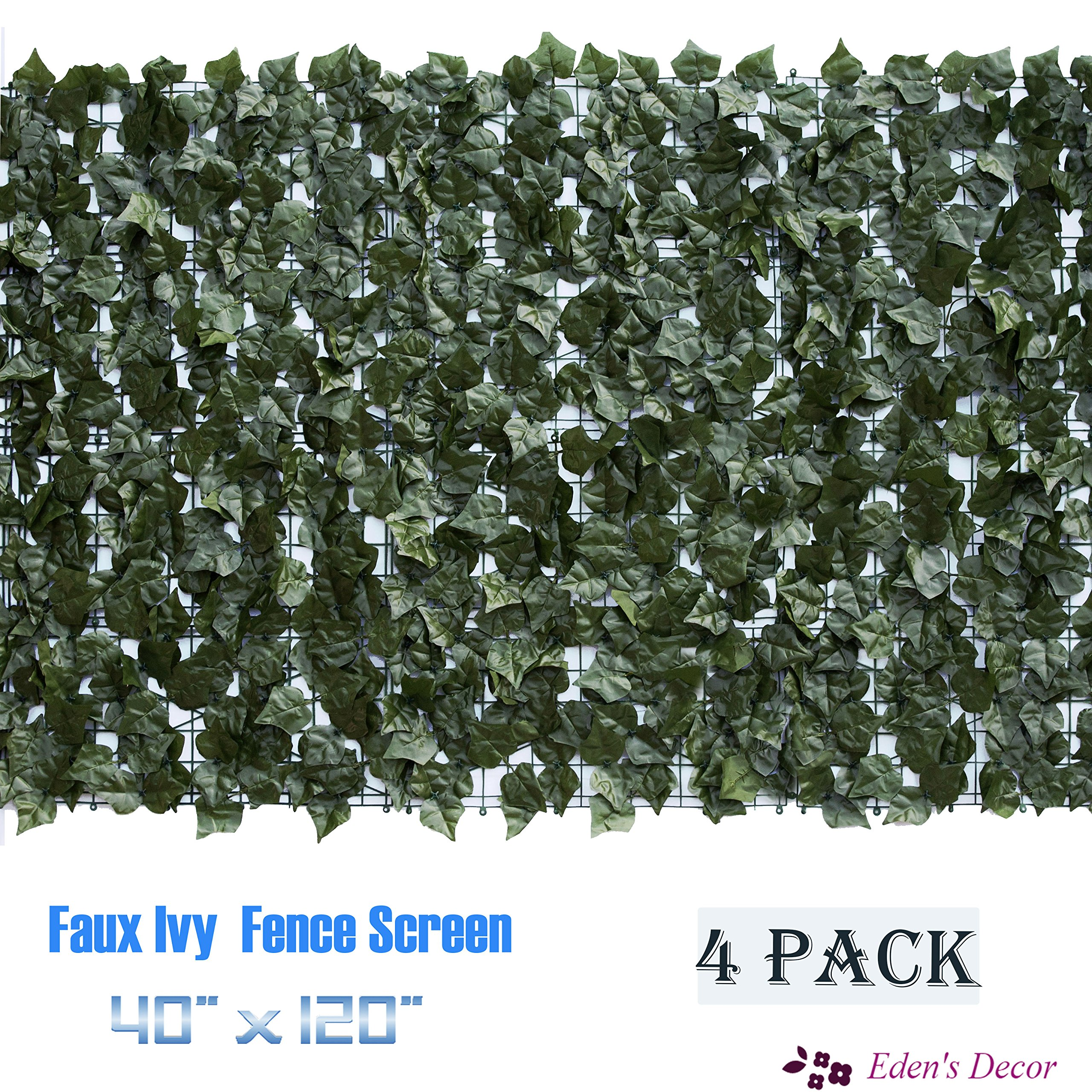Eden's Decor 120''X40'' Faux Ivy Leaf Privacy Trellis Fence Screen. Top-quality Artificial Hedge for Outdoor/Indoor Decoration (4) by Eden's Decor