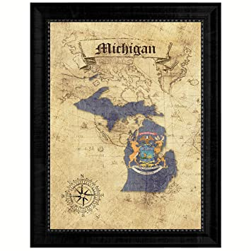 Amazon.com: Michigan State Vintage Map Flag Canvas Print with Custom ...