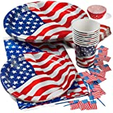 """Patriotic 4th of July Party Set Deluxe- Patriotic Cups, Patriotic 9"""" Plates, Patriotic Oval Plates, Patriotic Napkins, Patriotic Tablecloth, and Patriotic Cupcake Holder with American Flag Picks"""