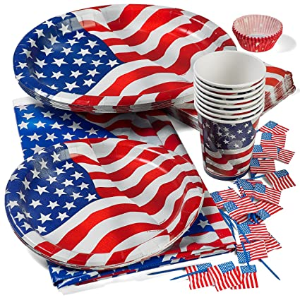Patriotic 4th of July Party Set Deluxe- Patriotic Cups Patriotic 9u0026quot; Plates  sc 1 st  Amazon.com : 4th of july tableware - Pezcame.Com