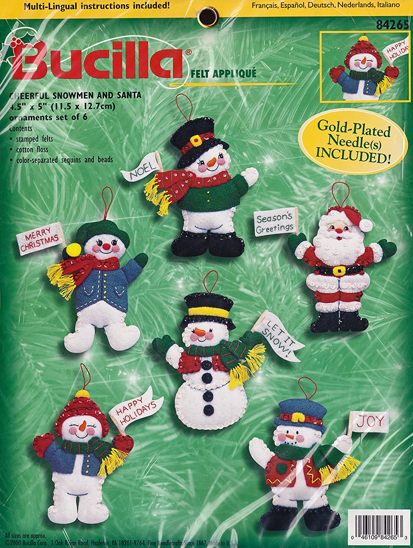 Bucilla 'Cheerful Snowmen and Santa' Felt Applique Ornament Kit 84265