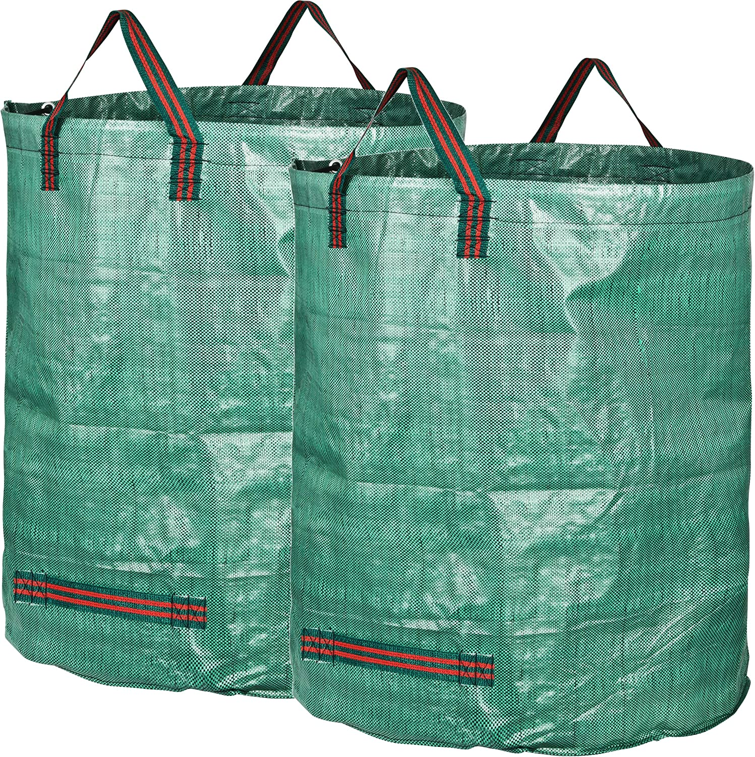 GardenMate 2-Pack 132 Gallons Professional Reusable Garden Waste Bags (H34, D34 inches) - Yard Waste Bags with Double Bottom