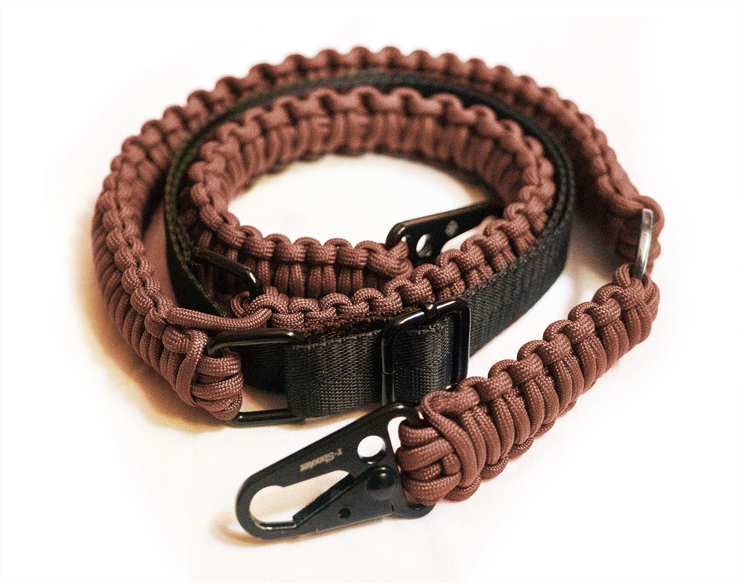 Traditional 2-Point 550 Paracord Rifle Sling | Two Point Gun Shoulder Strap Durable & Adjustable | Ideal for Tactical Shooting, Hunting& Emergency Situations (Brown+Bracelet)