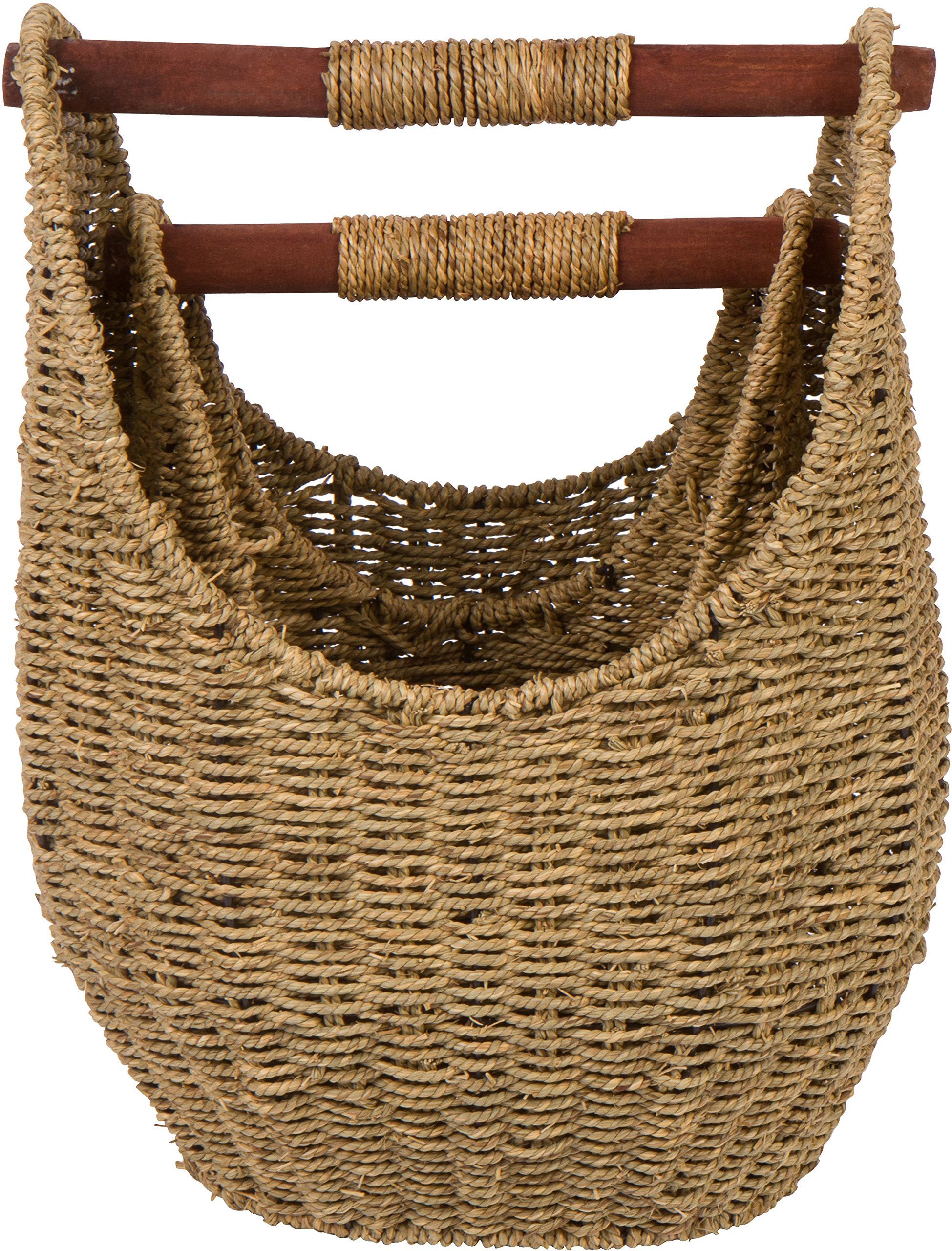 Trademark Innovations 15.7'' & 12.5'' Seagrass Baskets with Wooden Handles - Set of 2