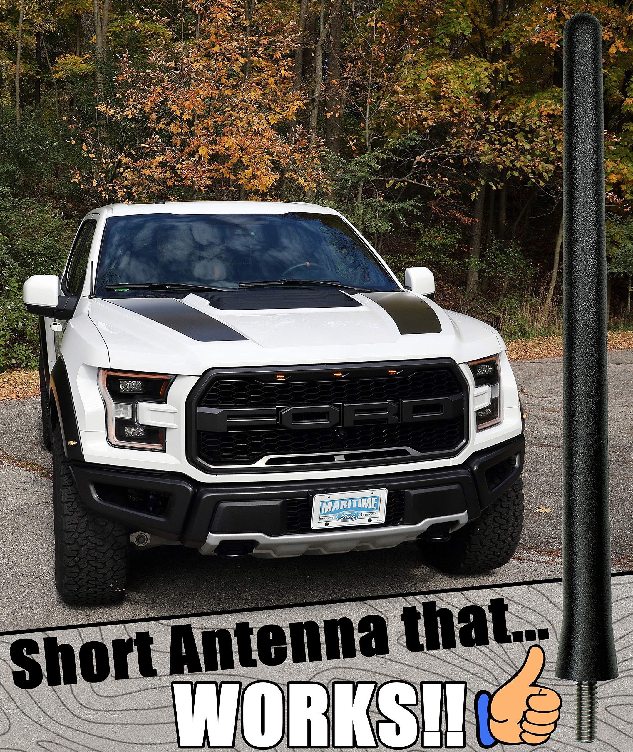 "FITS **SHORT**  4/"" BLACK ALUMINUM ANTENNA 2017-2019 Ford F-250"