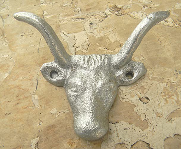 Amazon.com: Cast Iron Silver Wall Hook, Farmhouse Rustic Décor, Cow ...