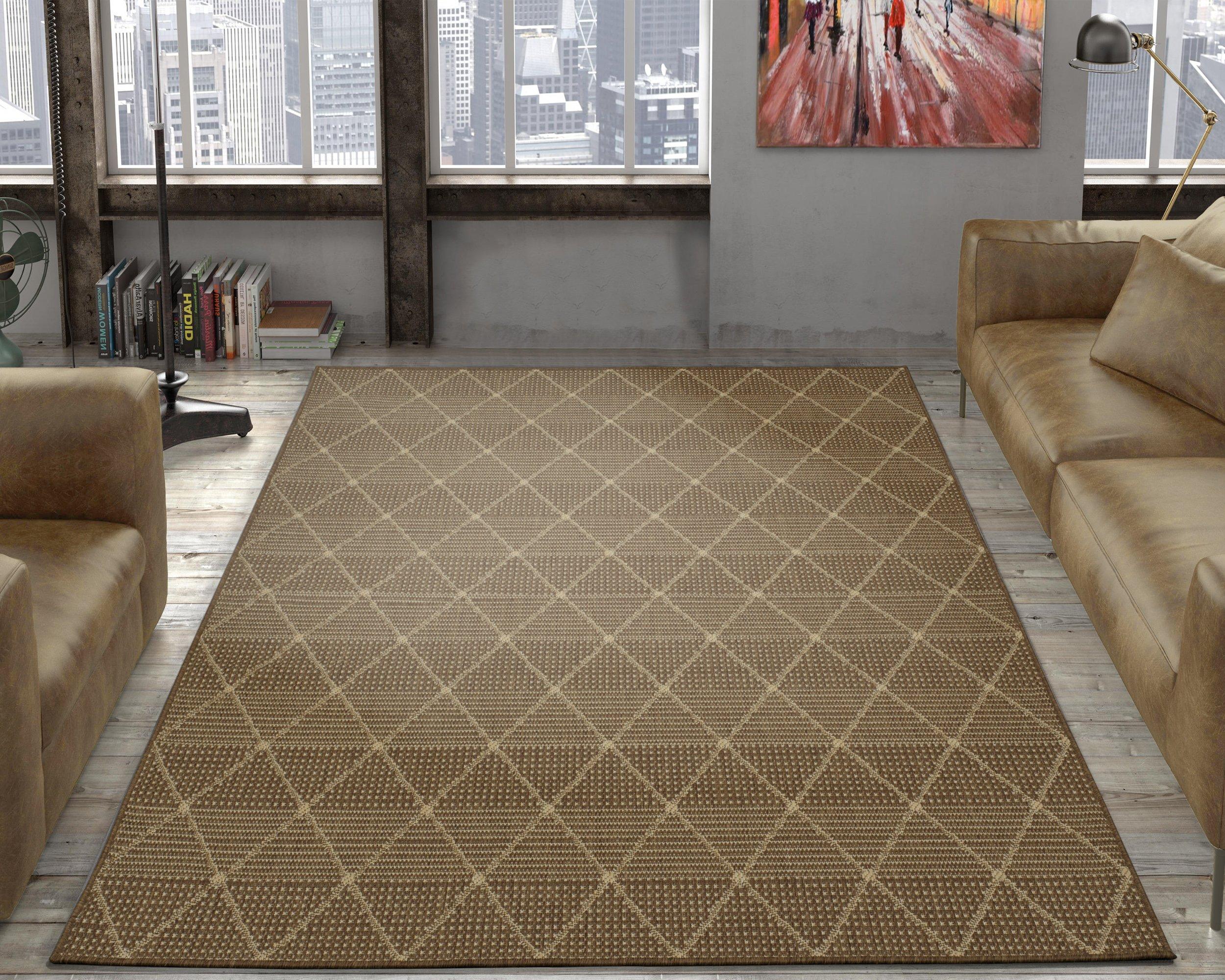 Ottomanson jardin collection contemporary trellis design indoor outdoor jute backing area synthetic sisal rug