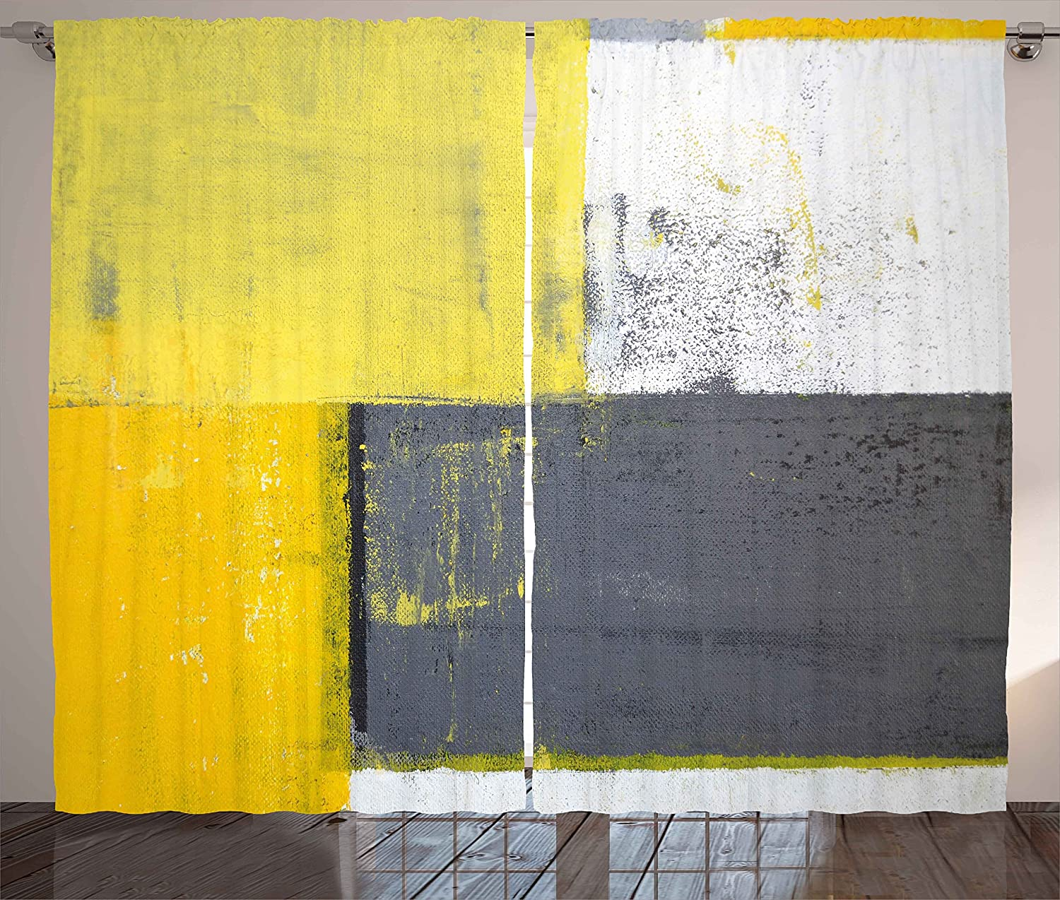Ambesonne Grey and Yellow Curtains, Street Art Modern Grunge Abstract Design Squares, Living Room Bedroom Window Drapes 2 Panel Set, 108