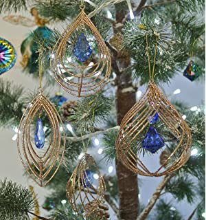 Set 2 Gisela Graham PEACOCK Butterfly Dragonfly Christmas Tree Decoration Gold