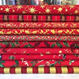 Always Knitting & Sewing - 10 Piece Christmas Red mix, 100% cotton fabric, small piece fabric bundle, Size ; 25cm x 25cm