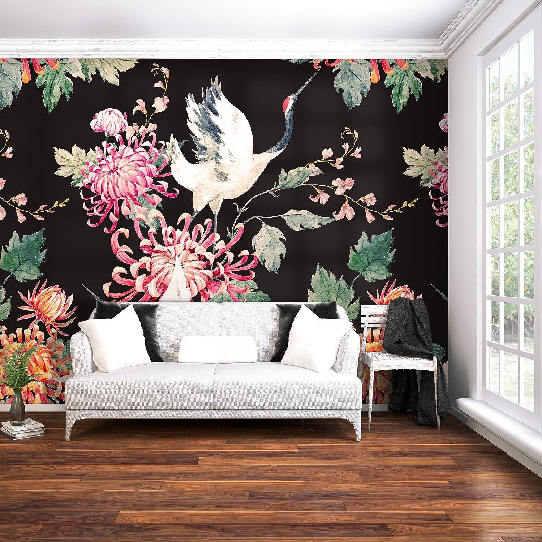 D/éco Mural Tableaux Muraux Photo Rose Oiseau blanc decomonkey Papier peint intiss/é Fleurs Oriental 250x175 cm XL Design Trompe l oeil