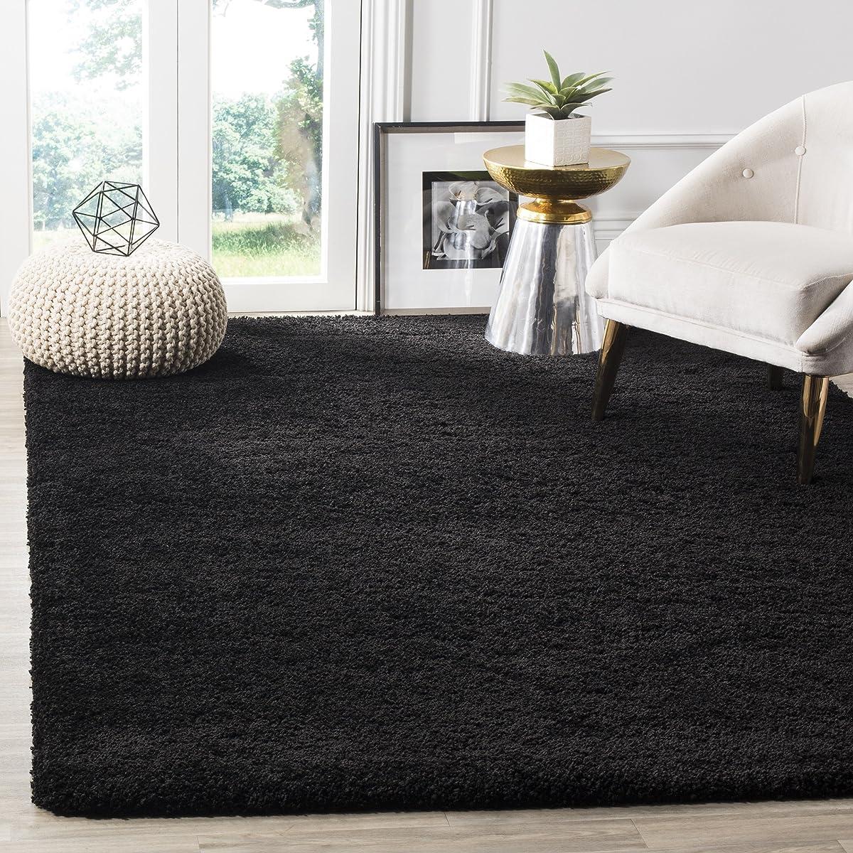 Safavieh Milan Shag Collection SG180-9090 Black Area Rug (4 x 6)