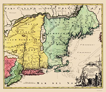 Amazon.com: Old State Map - New England, United States - Homann 1759 ...
