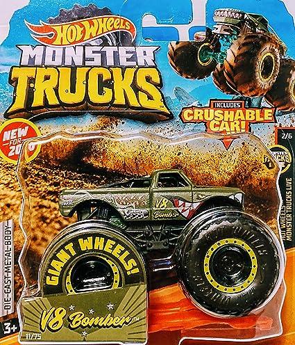 Amazon Com Hot Wheels Monster Jam V8 Bomber Includes Crushable Car 11 75 Monster Trucks Live 2 6 Toys Games