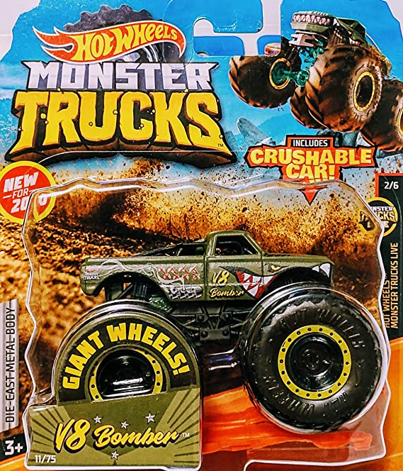 Amazon Com Hot Wheels Monster Jam V8 Bomber Includes Crushable Car 11 75 Monster Trucks Live 2 6 Toys Games