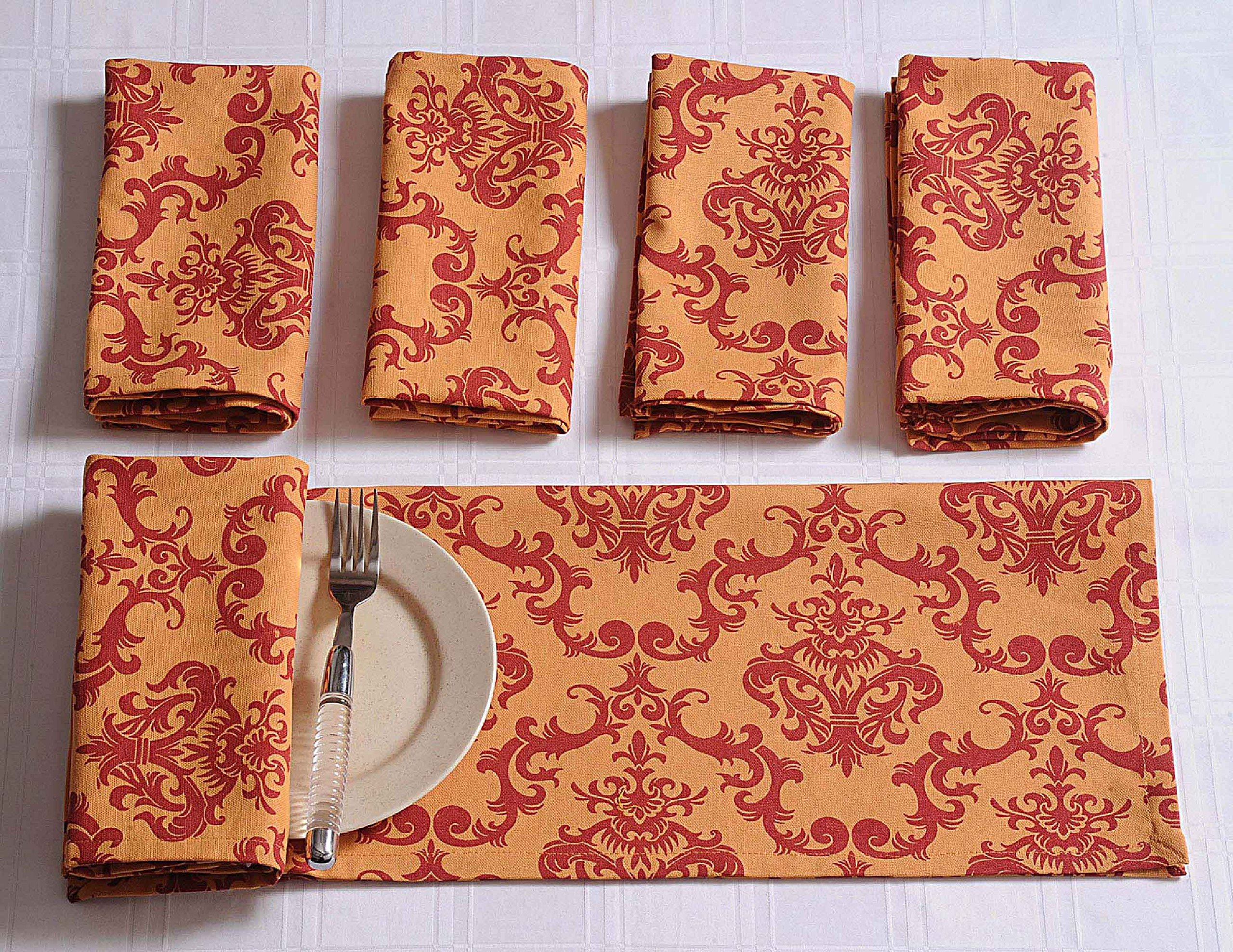 ShalinIndia Cotton Drink Beverage Cloth Napkins - 10'' x 10'' - Set of 100 Premium Table Linens Perfect for Weddings & Parties - Orange and Red Damask by ShalinIndia
