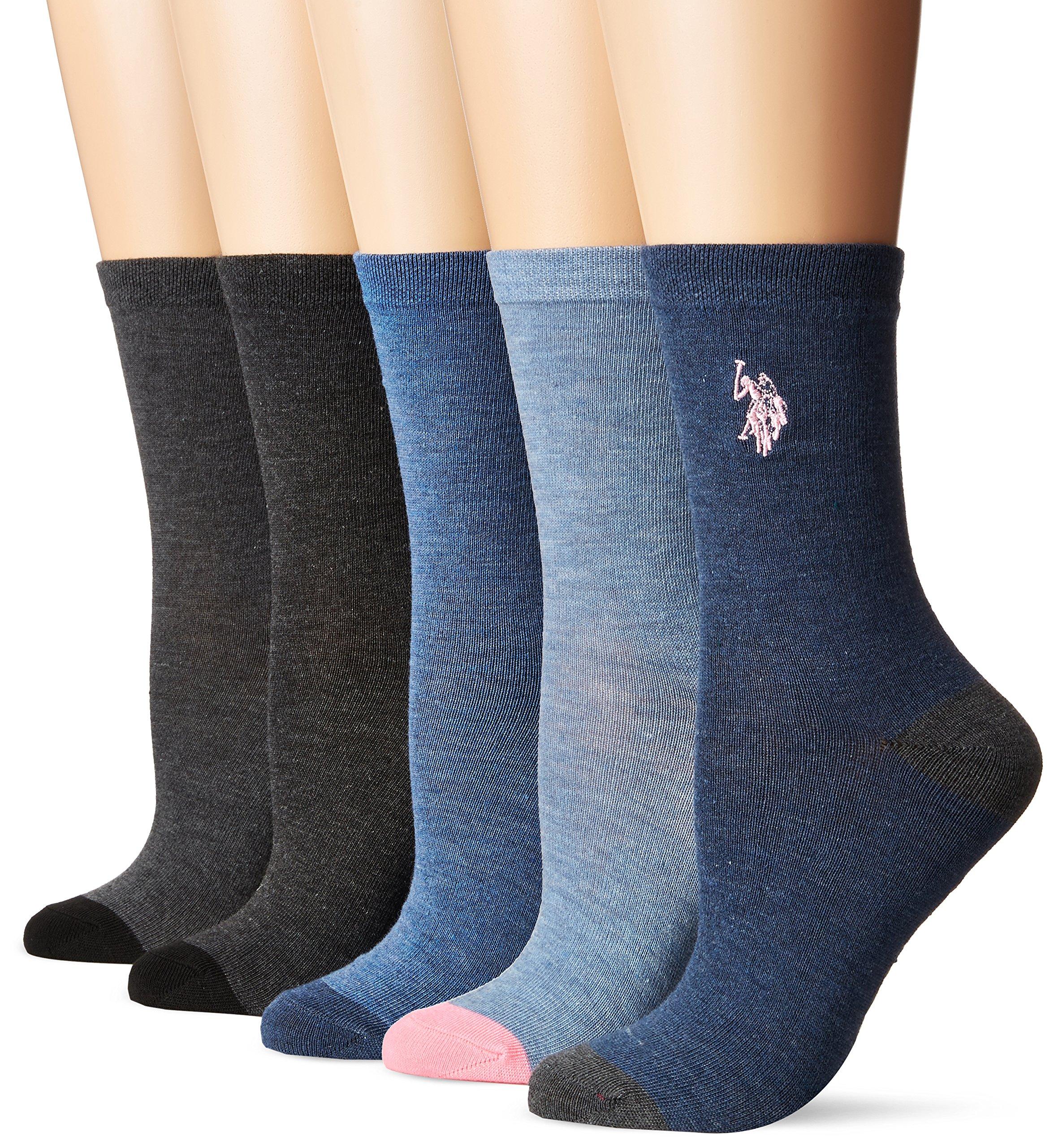 U.S. Polo Assn. Women's 5 Pack Dress Socks, Multi, 9-11