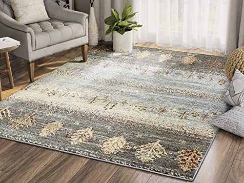 Southwestern Distressed Tree Print 7 9 x 10 2 Area Rug, Mesa Collection by Abani Rugs – Green, Blue, Yellow Vintage Style Accent Rug