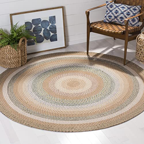 Safavieh Braided Collection BRD314A Hand Woven Tan and Multi Round Area Rug 8 Diameter