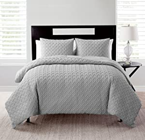 VCNY Home Nina Collection Comforter Soft & Cozy Bedding Set, Stylish Chic Design for Home Décor, Machine Washable, Ful/Queen, Grey