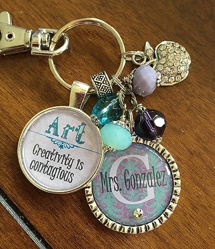 Amazon.com: Silver TEACHER KEY CHAIN, Art Teacher gift keychain ...