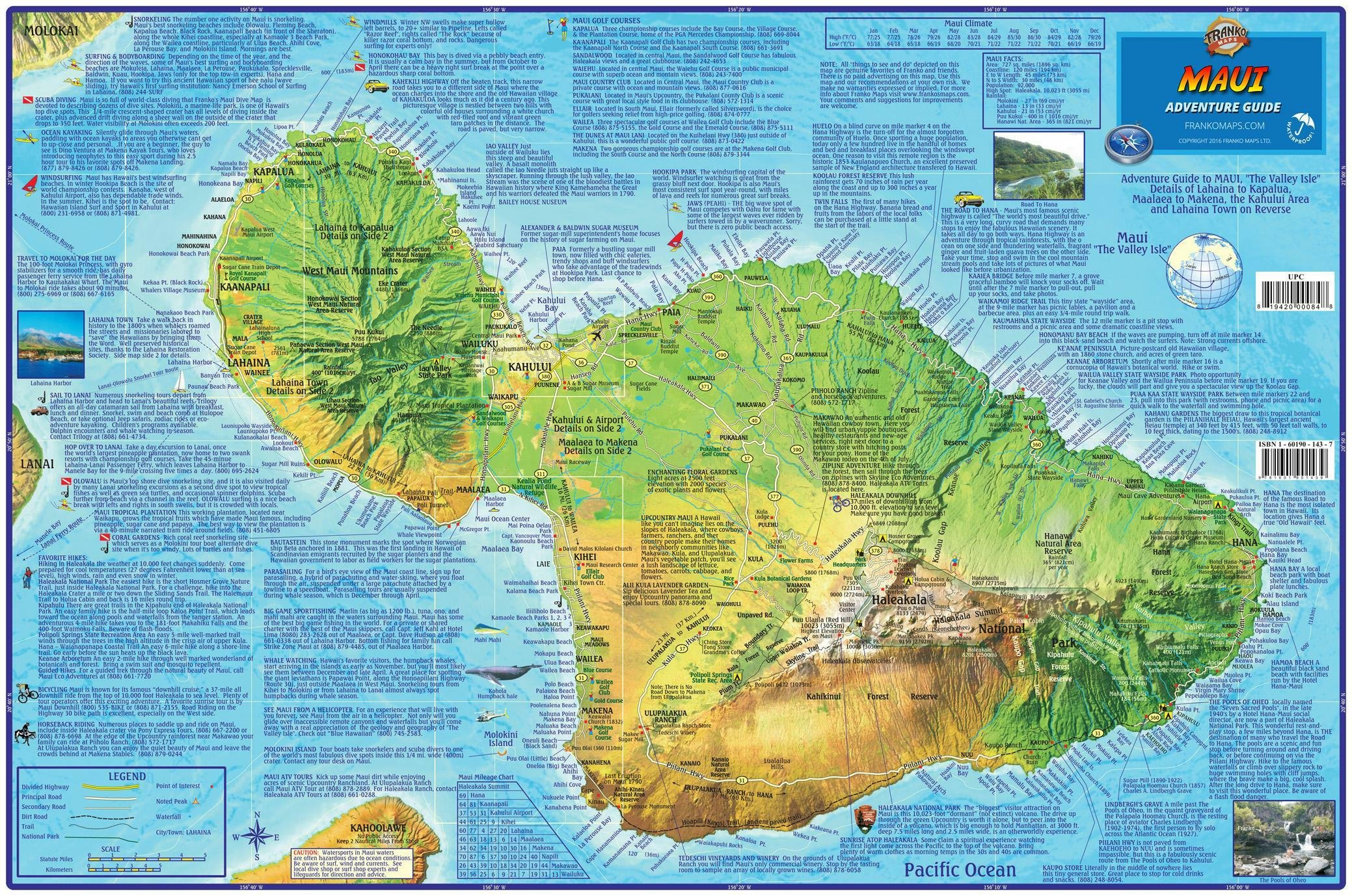 Maui Hawaii Adventure Guide Franko Maps Waterproof Map: Franko Maps on