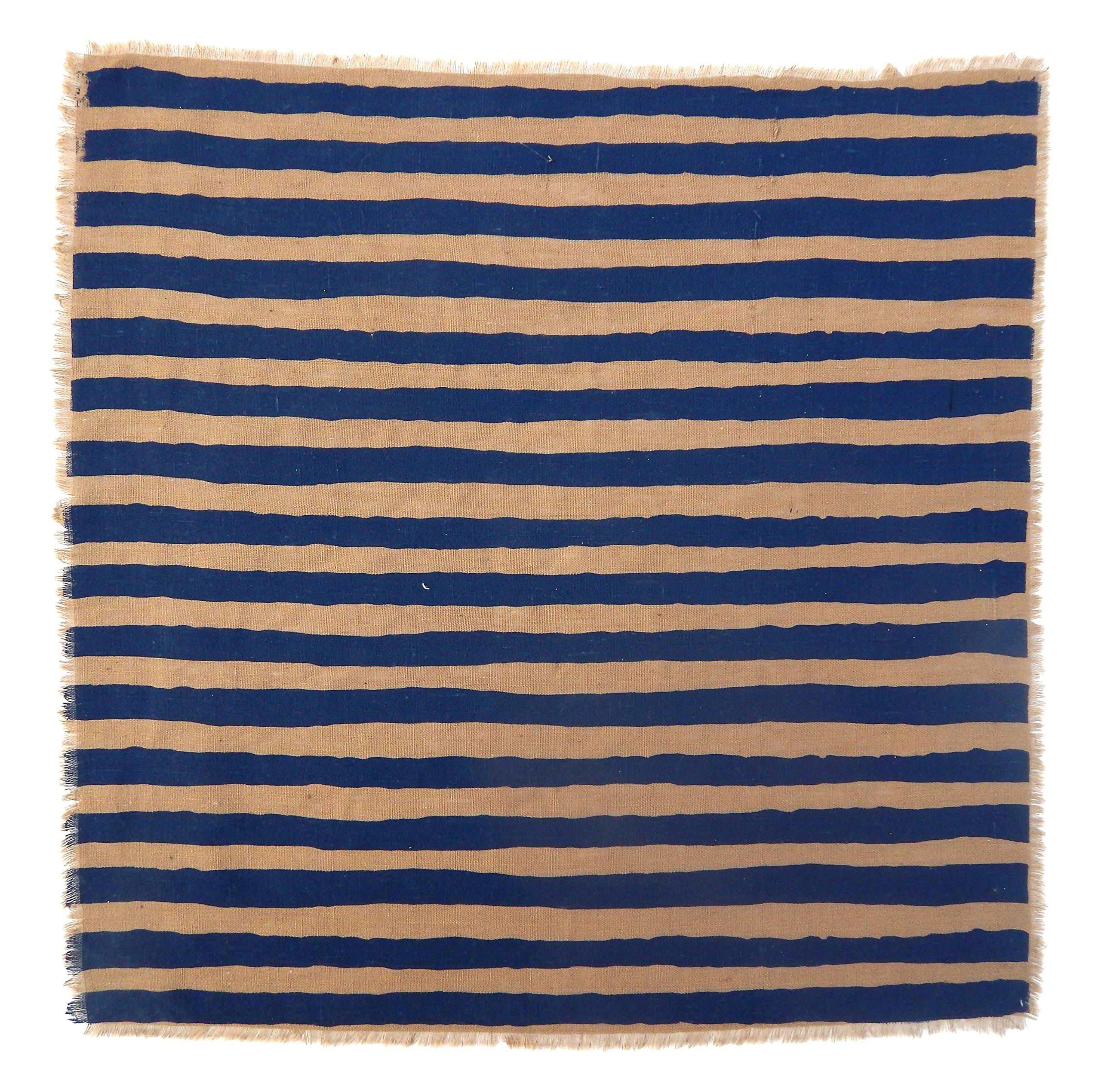 Gitika Goyal Home Windows Collection Cotton Khadi  Khaki Napkin 17x17 Stripe Design, Blue Hand Screen Print